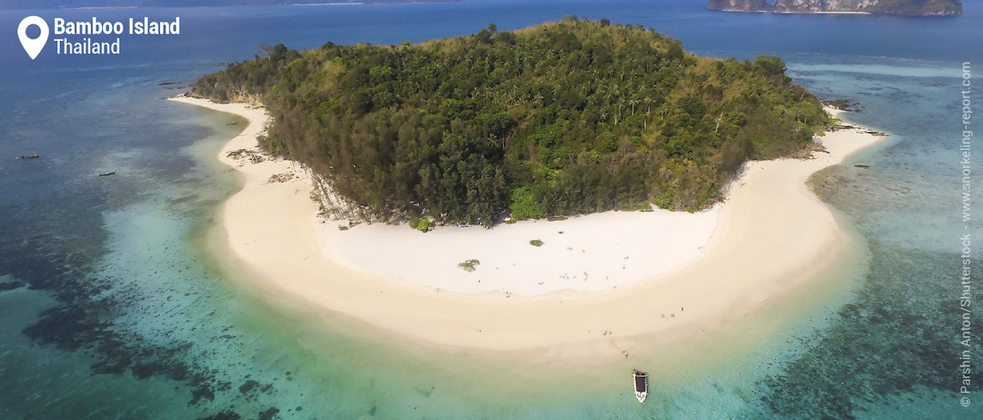 Aerial view of Bamboo Island reef