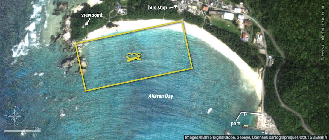 Aharen Beach snorkeling map, Tokashiki Island