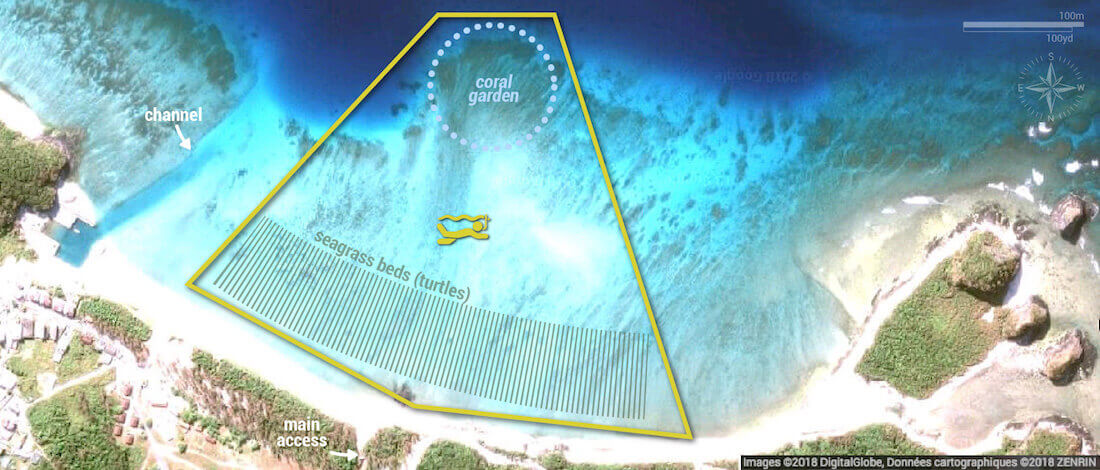 Ama Beach snorkeling map, Zamami Island