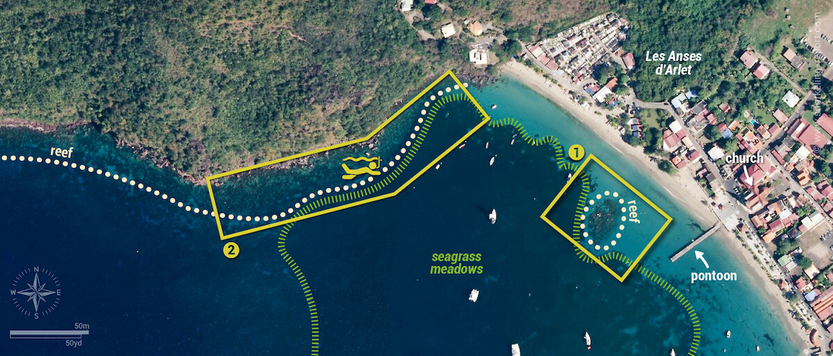 Anses d'Arlet snorkeling map