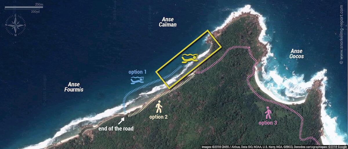 Anse Caiman snorkeling map, La Digue, Seychelles