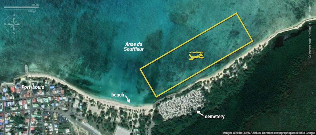 Plage du Souffleur snorkeling map, Guadeloupe