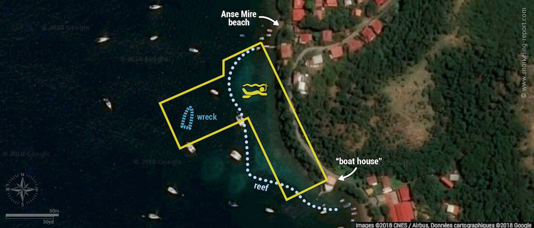Anse Mire snorkeling map, Guadeloupe
