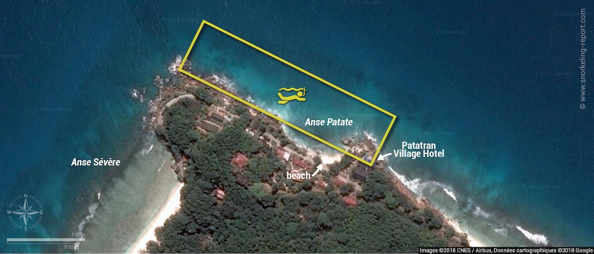 Anse Patate snorkeling map