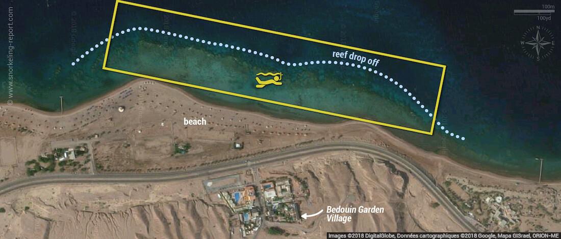Aqaba Marine Park snorkeling map, Jordan