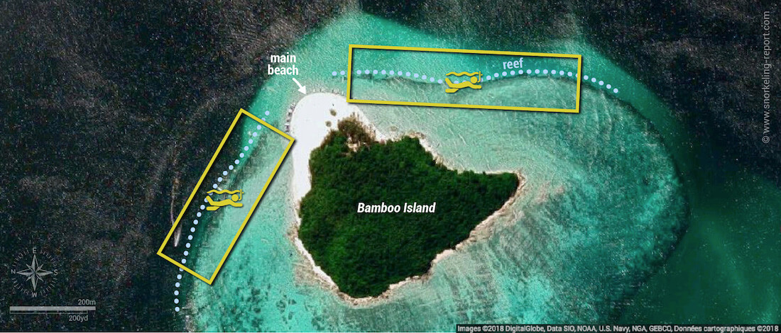 Bamboo Island snorkeling map, Thailand