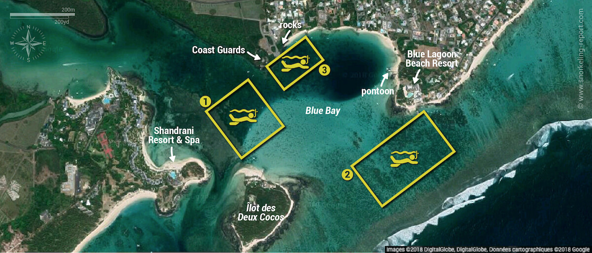 Blue Bay Marine Park snorkeling map