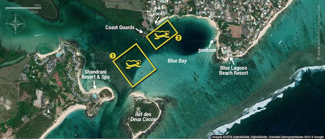 Blue Bay Marine Park snorkeling map