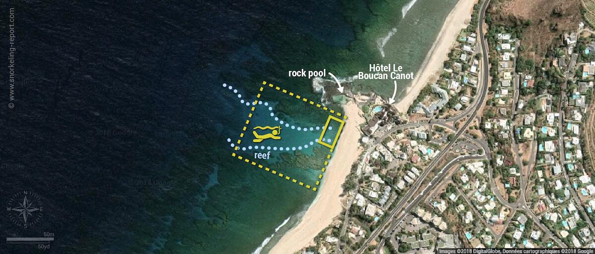 Boucan Canot Reunion Island snorkeling map