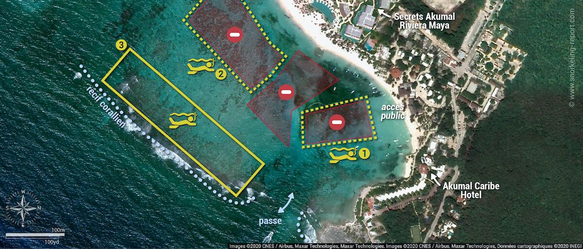 Carte snorkeling dans la baie d'Akumal, Mexique