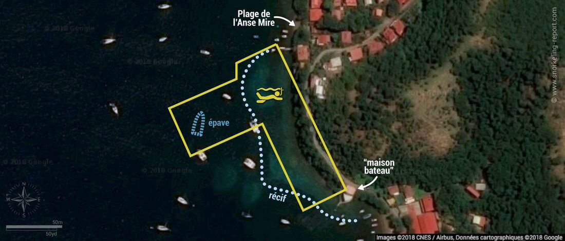 Carte snorkeling à l'Anse Mire, Guadeloupe