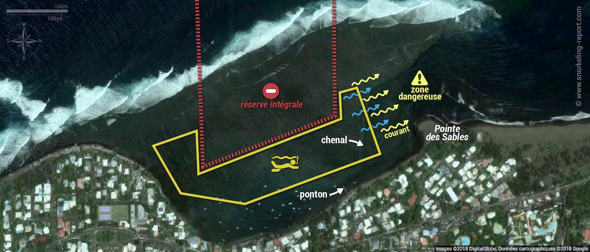 Carte snorkeling à l'Etang Salé, La Réunion