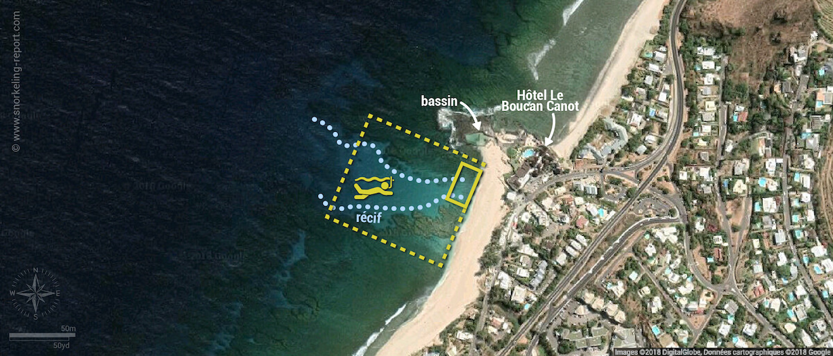 Carte snorkeling à Boucan Canot, Île de la Réunion