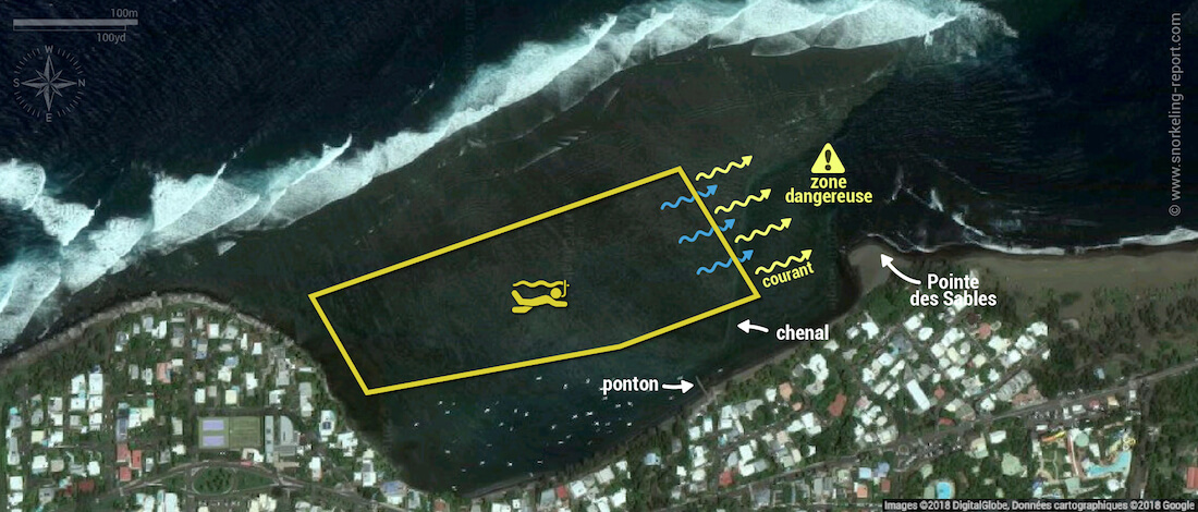 Carte snorkeling à l'Etang Salé, île de la Réunion