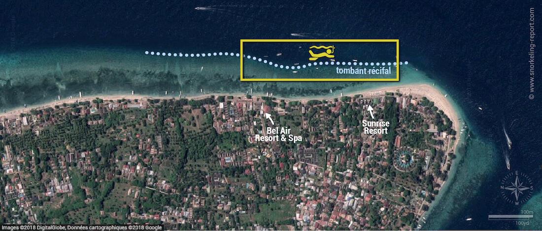 Carte snorkeling à Gili Air, Indonésie