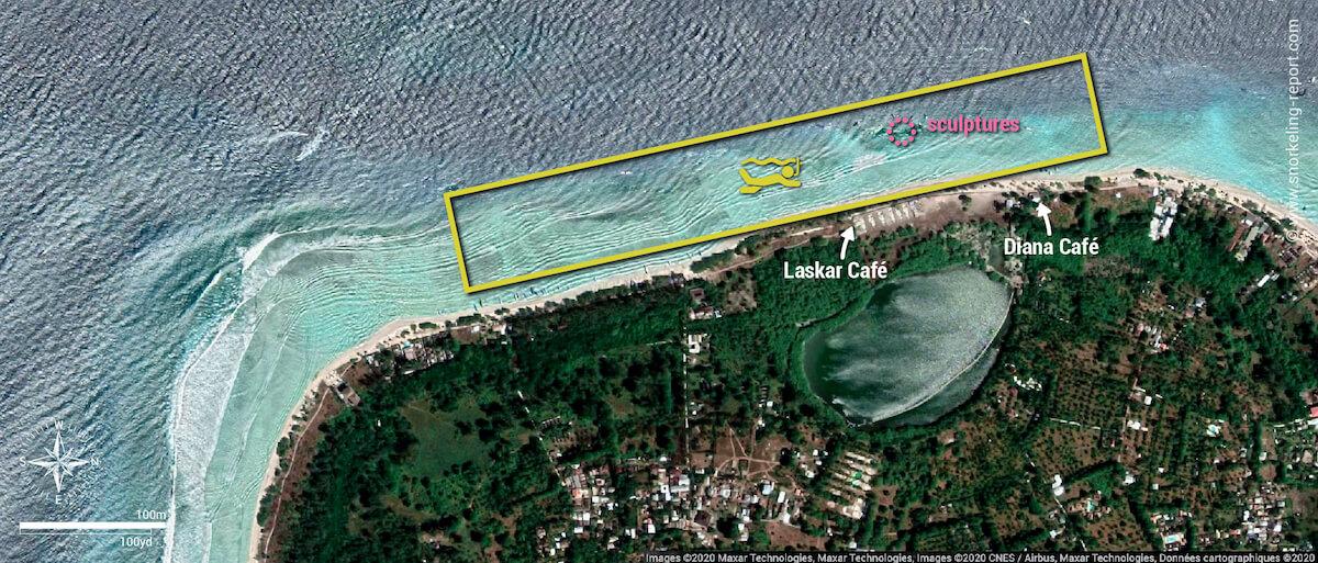 Carte de la zone de snorkeling de Gili Meno