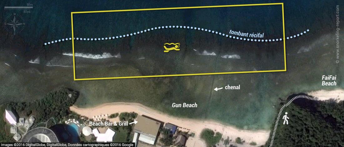 Carte snorkeling à Gun Beach, Guam