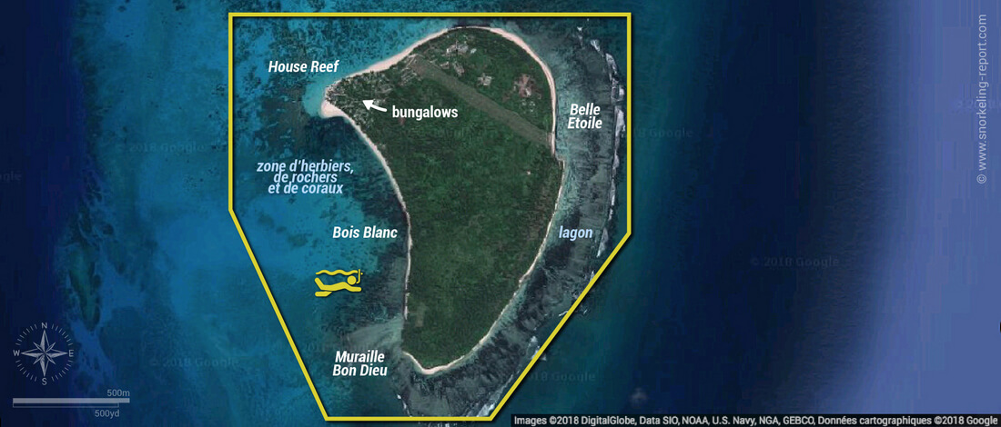 Carte snorkeling à l'île Denis, Seychelles