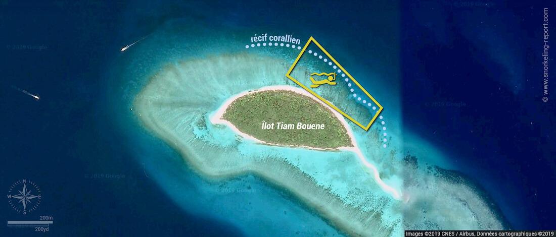Carte snorkeling à l'îlot Tiam Bouene