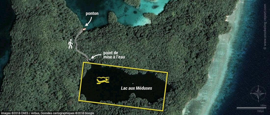 Carte snorkeling au Lac aux Méduses, Palaos
