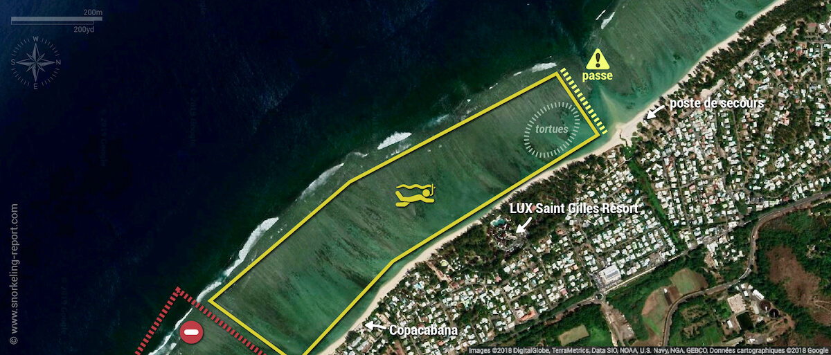 Carte snorkeling au lagon de la Saline, La Réunion