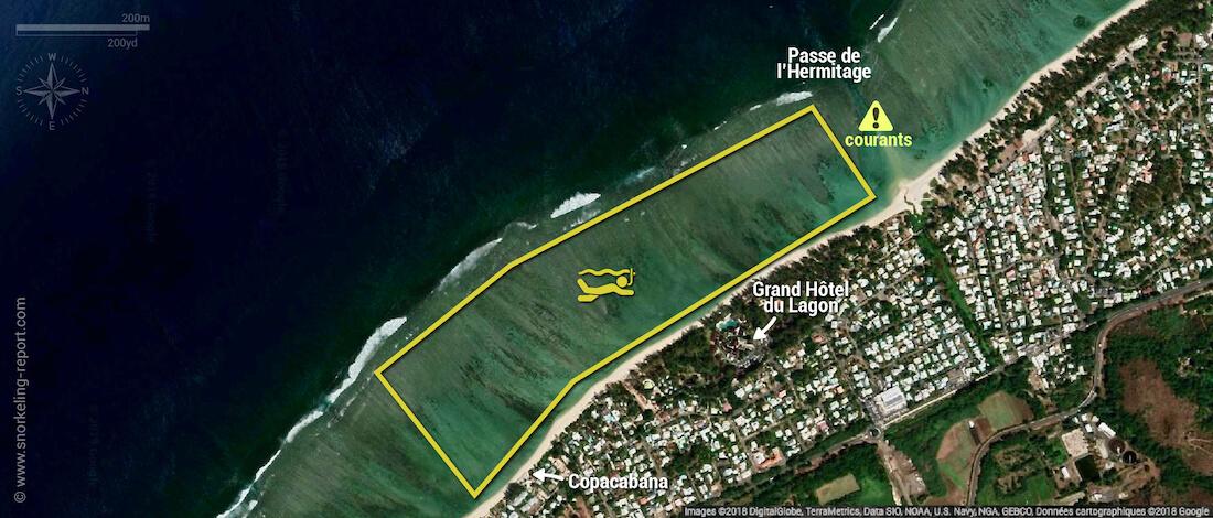 Carte snorkeling au lagon de la Saline