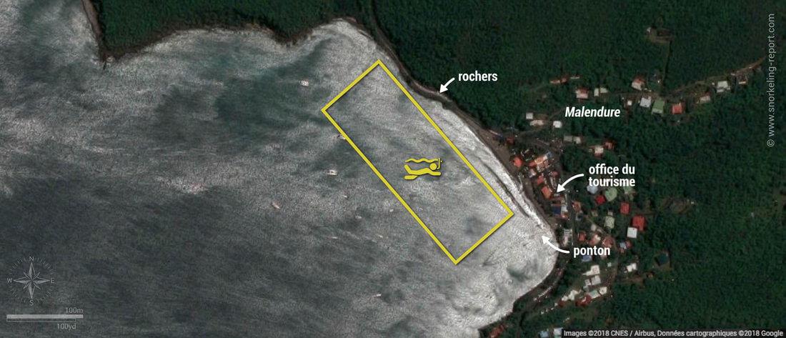 Carte snorkeling à Malendure, Guadeloupe
