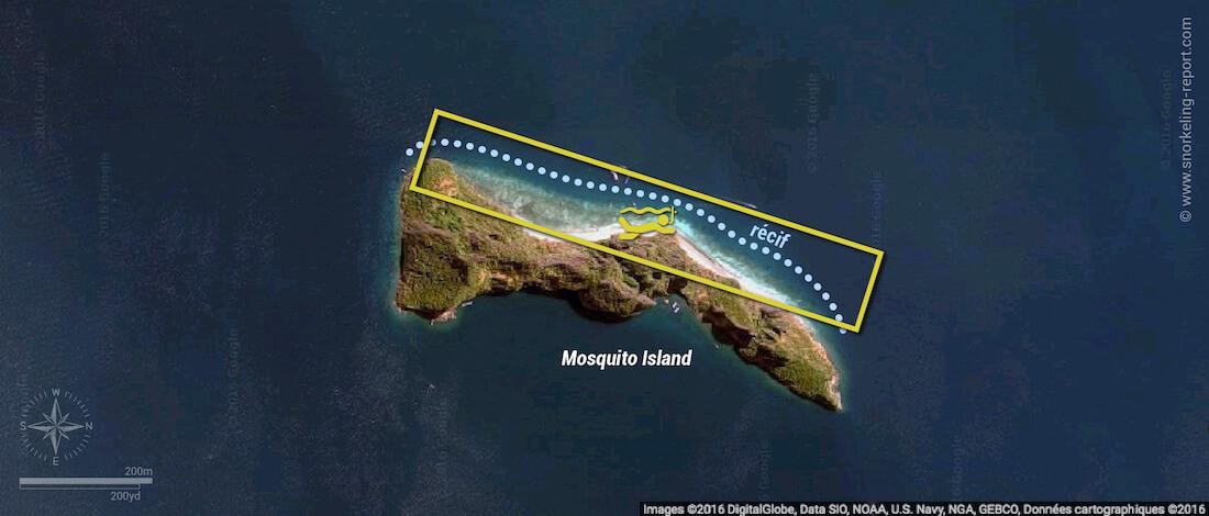 Carte snorkeling à Mosquito Island, Thaïlande