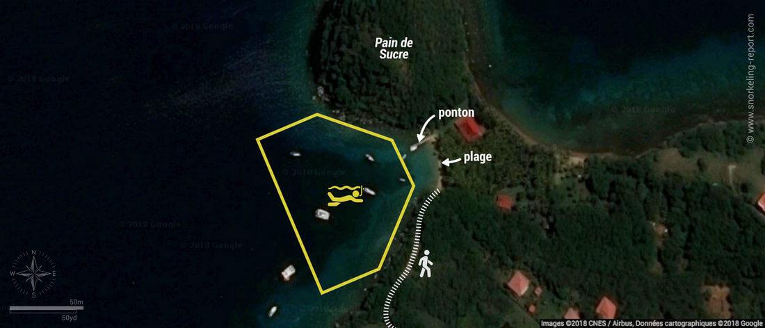 Carte snorkeling à la Plage du Pain de Sucre, Guadeloupe