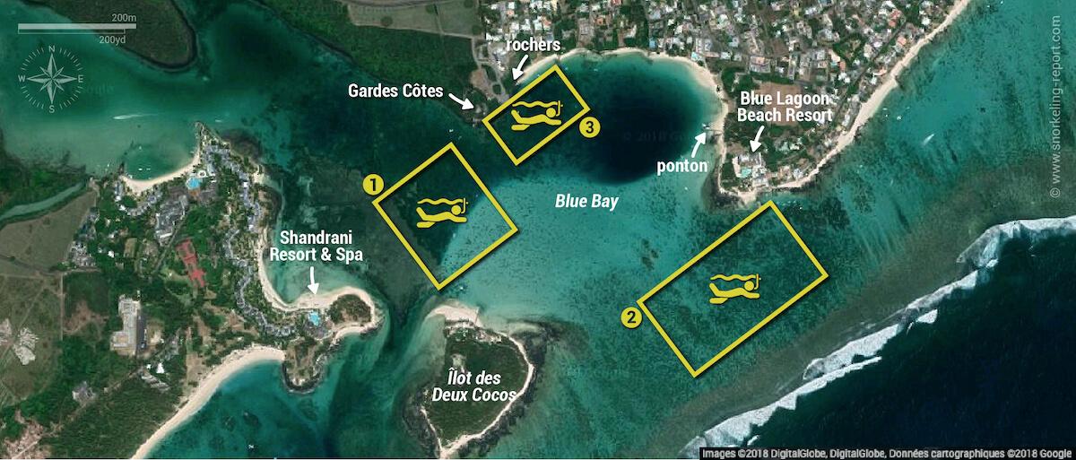 Carte snorkeling dans le Parc marin de Blue Bay