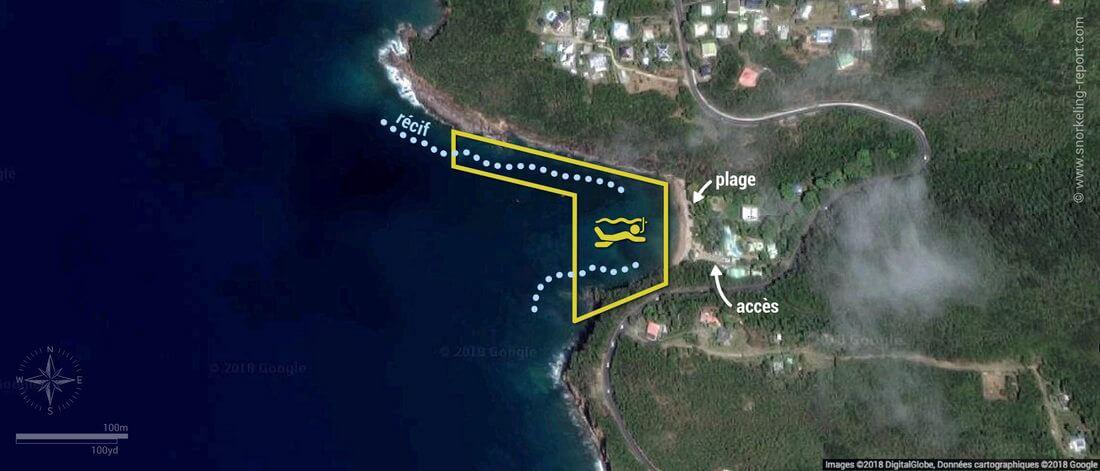 Carte snorkeling à Petite Anse, Guadeloupe