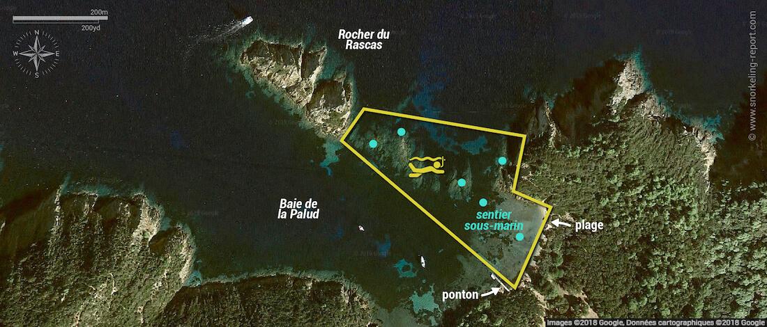 Carte snorkeling à la Plage de la Palud, Port Cros