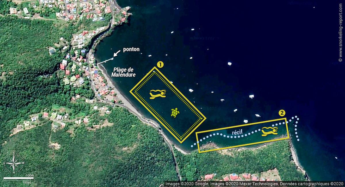 Carte snorkeling à Malendure, Bouillante