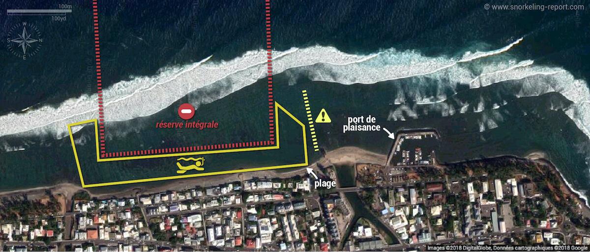 Carte snorkeling à Saint-Leu, La Réunion