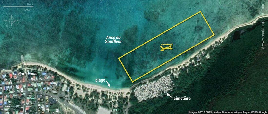 Carte snorkeling à la Plage du Souffleur, Guadeloupe
