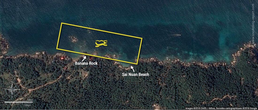 Carte snorkeling à Sai Nuan Beach, Koh Tao, Thaïlande