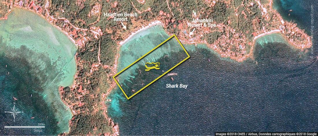 Carte snorkeling à Shark Bay, Koh Tao, Thaïlande