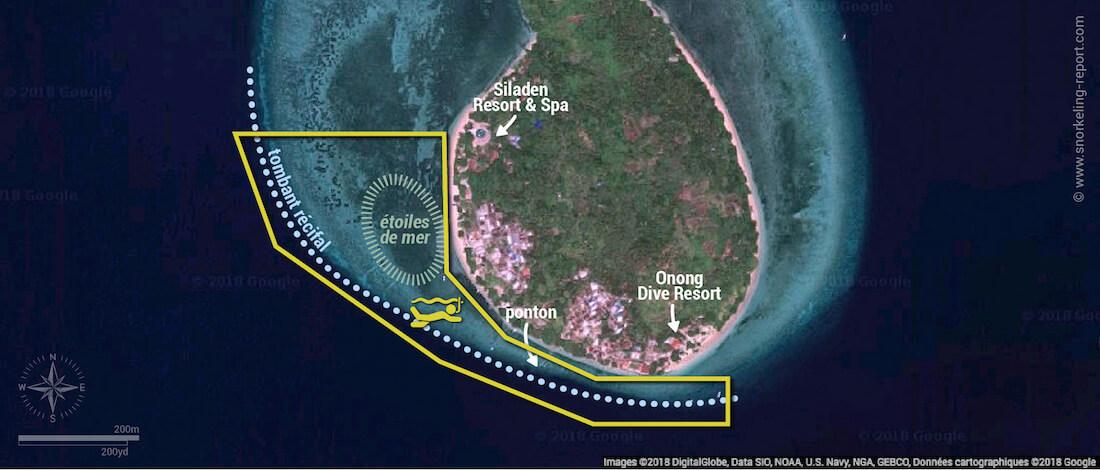 Carte snorkeling à Siladen, Indonésie