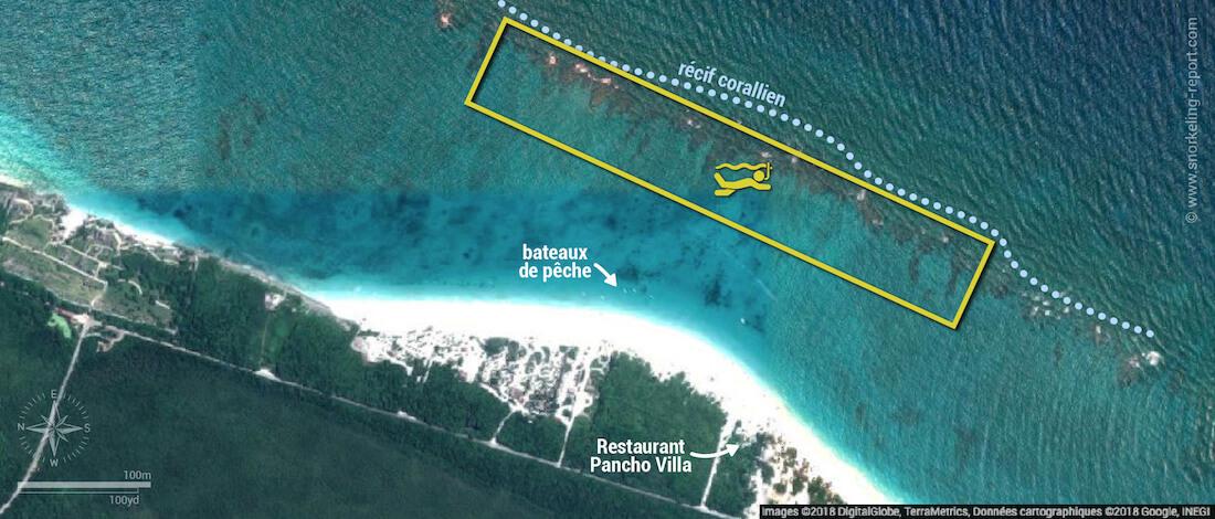 Carte snorkeling sur le récif de Tulum, Mexique