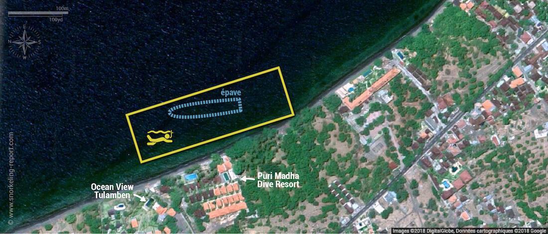 Carte snorkeling à l'USS Liberty Wreck, Bali