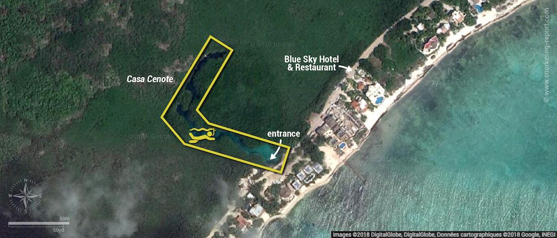 Casa Cenote snorkeling map, Mexico