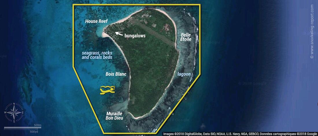 Denis Island Seychelles snorkeling map
