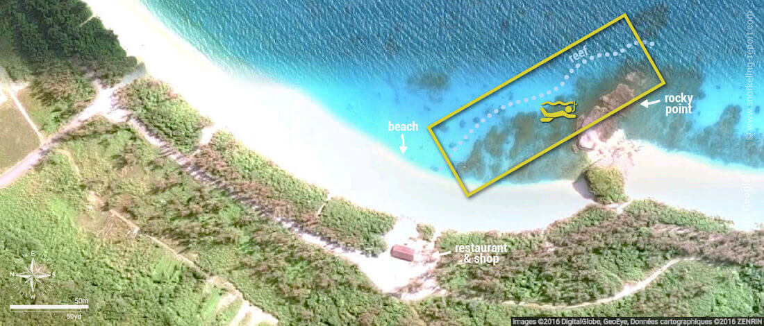 Furuzamami Beach snorkeling map, Zamami Island