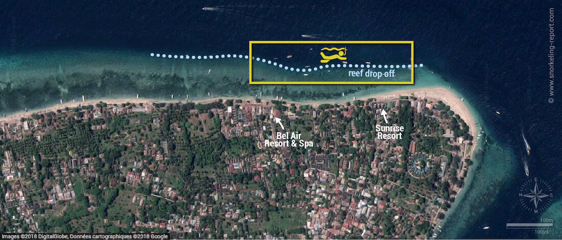 Gili Air snorkeling map, Indonesia