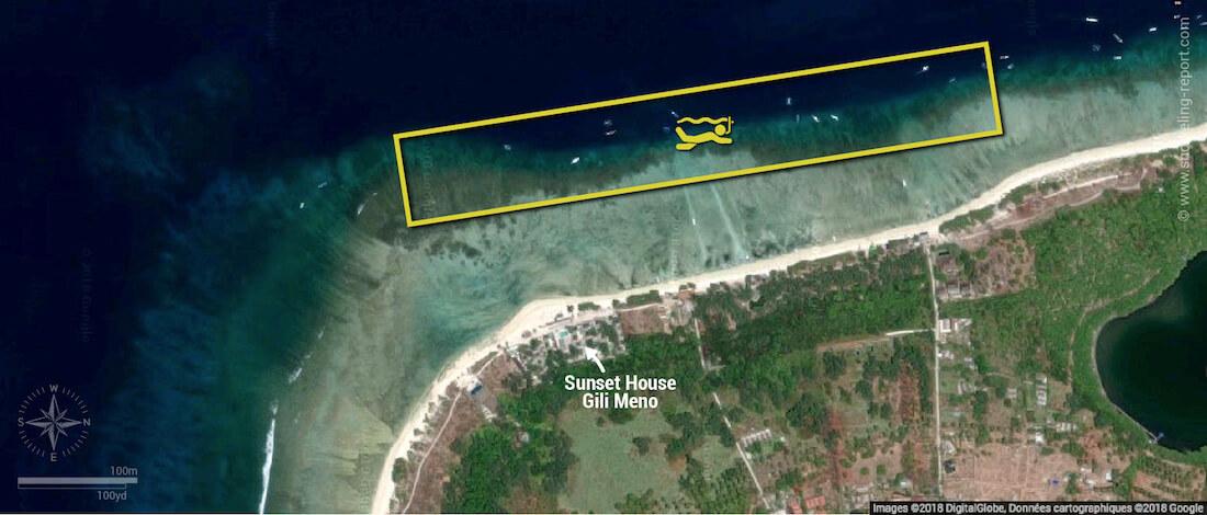 Gili Meno snorkeling map, Indonesia