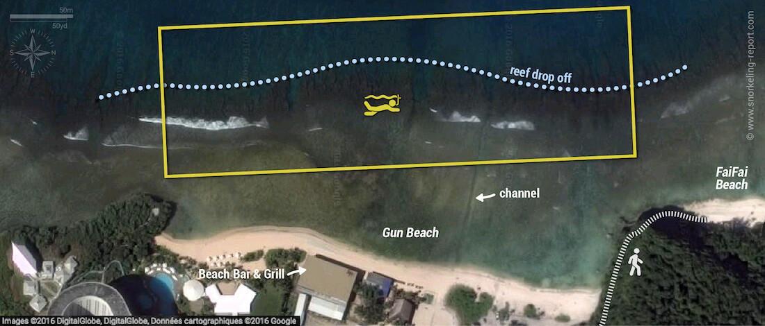 Gun Beach snorkeling map, Guam
