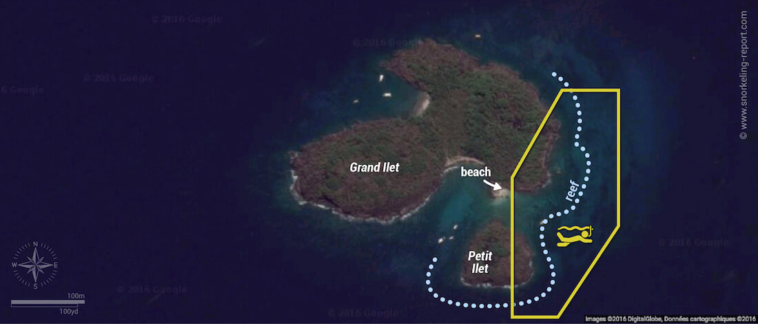 The Coral Garden snorkeling map, Guadeloupe