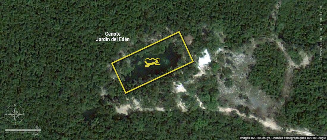 Cenote Jardin del Eden snorkeling map, Mexico