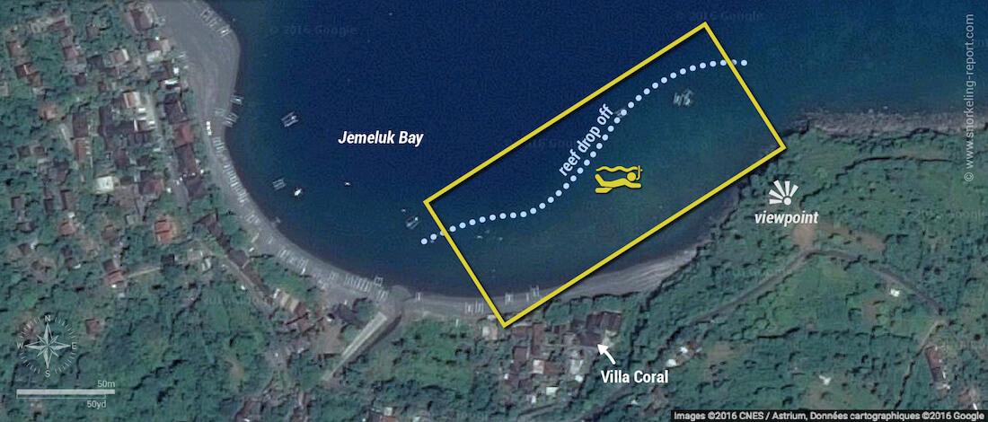 Jemeluk Beach snorkeling map, Bali