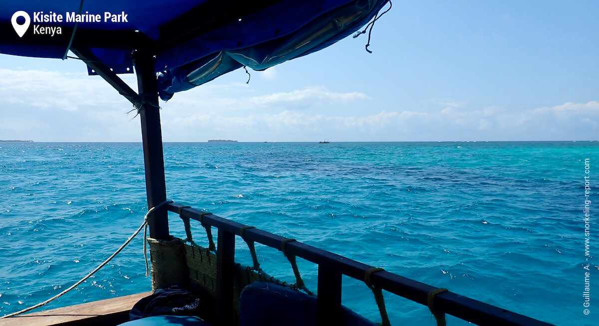 Kisite Island and coral reef seen from the boat